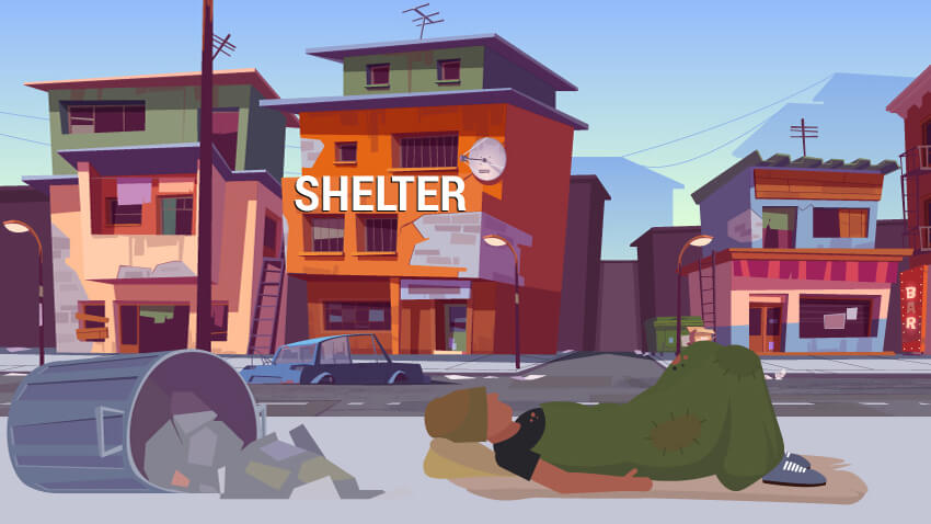 Illustration Of Homeless Man Sleeping On Sidewalk Outside Homeless Shelter