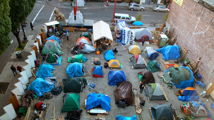 Tent City In Middle Of Downtown