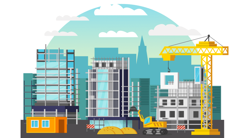 Building Construction For Homeless Housing In San Francisco Illustration