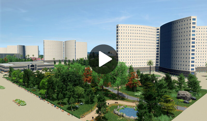 High-density Housing And Park View Of Citizens Again City